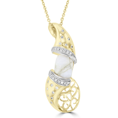 14K Yellow gold, Gold Quartz 2.19cts and Diamond 0.27cts (SI1-VS, G-H) Pendant Necklace