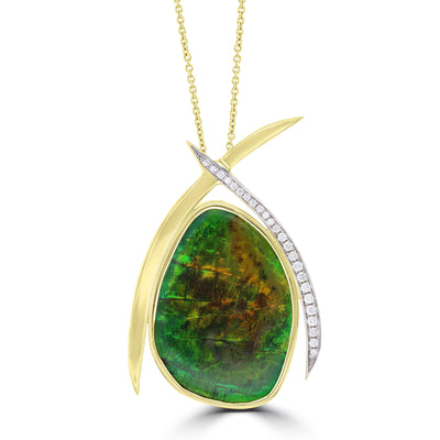 14K Yellow Gold 31.52ct Ammolite and Diamond 0.33ct (SI1-VS, G-H ) Necklace