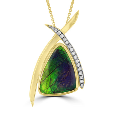 14K Yellow Gold 11.58ct Ammolite and Diamond 0.28ct (SI1-VS, G-H ) Necklace