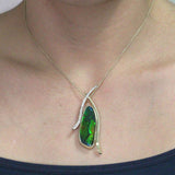 14K Yellow Gold Ammolite 20.17cts and Diamond 0.40ct (SI1-VS, G-H ) Necklace