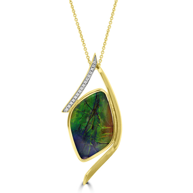 14K Yellow Gold 12.23ct Ammolite and Diamond 0.16ct (SI1-VS, G-H ) Necklace