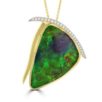 14K Yellow Gold Ammolite 37.01cts and Diamond 0.20ct (SI1-VS, G-H ) Necklace