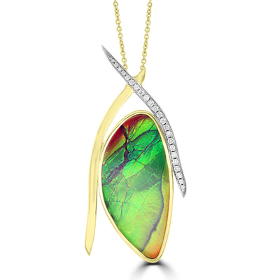14K Yellow Gold 31.00ct Ammolite and Diamond 0.24ct (SI1-VS, G-H ) Necklace