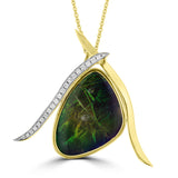 14K Yellow Gold 17.00ct Ammolite and Diamond 0.20ct (SI1-VS, G-H ) Necklace