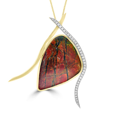 14K Yellow Gold Ammolite and 1/2ct TDW White Diamond Pendant Necklace