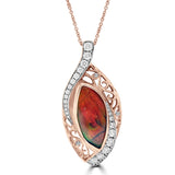 14K Rose Gold 7.57ct Ammolite and Diamond 1.00ct TDW (SI1-VS, G-H ) Necklace