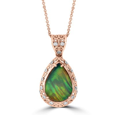14K Rose/White Gold 12.85ct Ammolite and Diamond 0.17ct Necklace