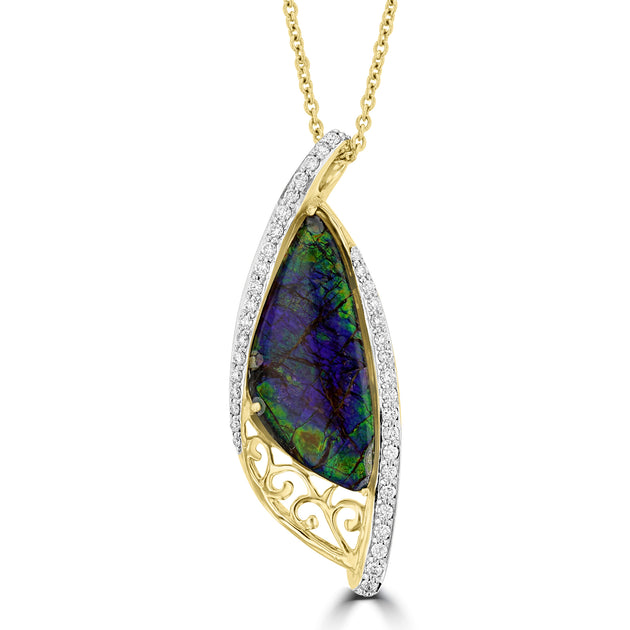 14K Yellow Gold 5.52ct Ammolite and Diamond 0.34ct (SI1-VS, G-H ) Necklace