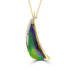 14K Yellow Gold 9.16ct Ammolite and Diamond 0.08ct (SI1-VS, G-H ) Necklace