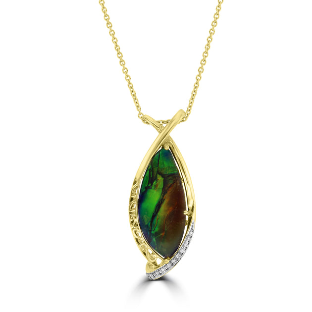 14K Yellow Gold Ammolite and Diamond Accent (SI1-VS, G-H) Necklace