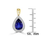 18K White and Yellow gold Tanzanite 16.95cts and Diamond 1.70cts (SI1,VS, G-H) Pendant Necklace