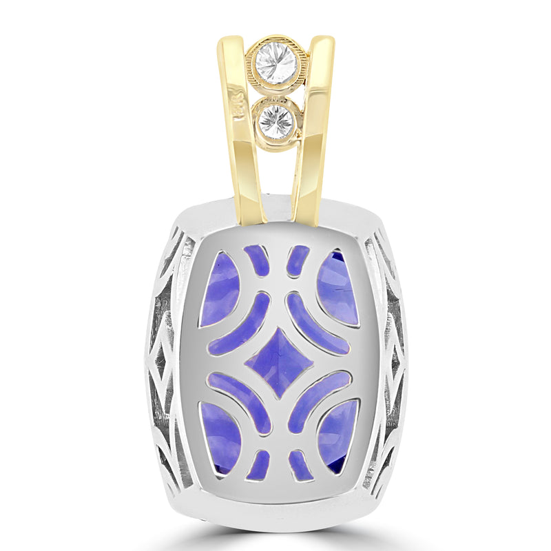 18K White and Yellow gold Tanzanite 18.85cts and Diamond 0.65cts (VS-SI1, G-H) Pendant Necklace