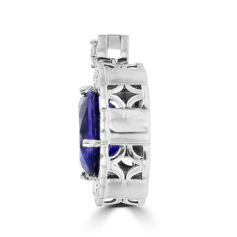 18K White Gold Tanzanite 26.68cts and Diamond (VS1-VS2, G-H) Pendant
