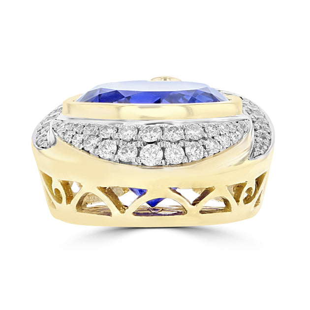 18K White & Yellow Gold Tanzanite 10.25cts & Diamond 0.48cts (SI1-VS, G-H)