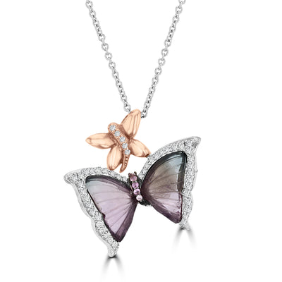 14K White Gold 8.29ct Tourmaline and 0.12ct TDW Diamond Butterly Necklace