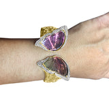 14K Yellow Gold Tourmaline 28.30cts & RBC Diamond 1.90cts Bangle
