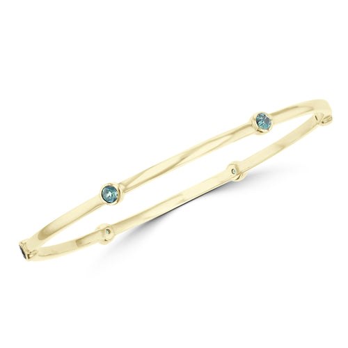 14K Yellow Gold, Fine Brazilian Alexandrite 1.10cts TGW Bangle