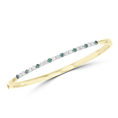 14K White & Yellow Gold, Fine Brazilian Alexandrite 0.62cts & Diamond 0.87cts TDW (SI1-VS, G-H) Bangle
