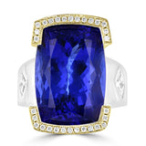 14K White and Yellow gold Tanzanite 21.20cts and Diamond 0.45cts Ring