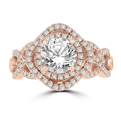14k Rose Gold Double Halo Diamond 1.75cts TDW Engagement Ring