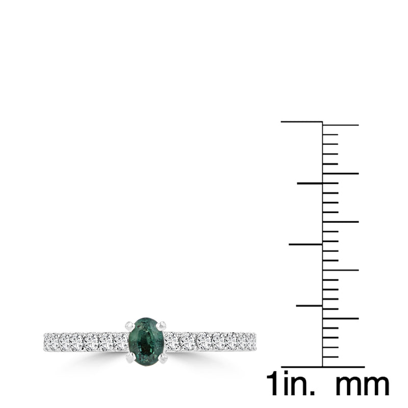 14K White Gold 0.25cts Brazilian Alexandrite and 0.30cts Diamond Ring (SI1-VS, G-H) by La Vita Vital