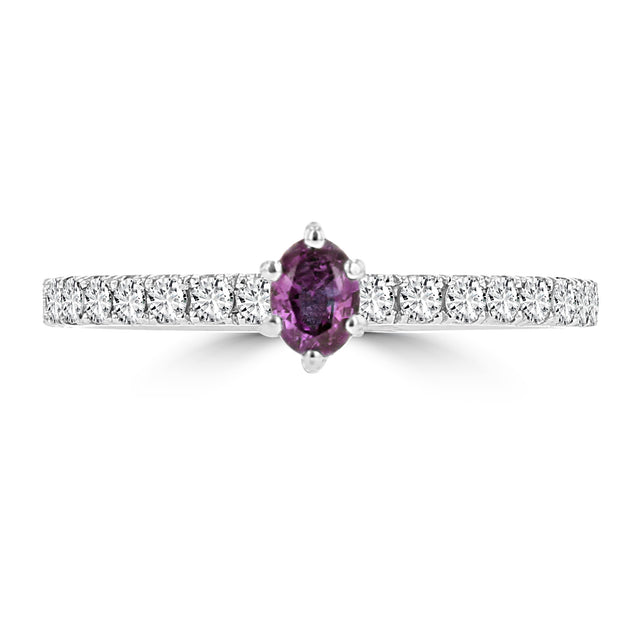 14k White Gold Alexandrite 0.22cts and Diamond 0.27cts Ring (SI1-VS1, G-H) by La Vita Vital