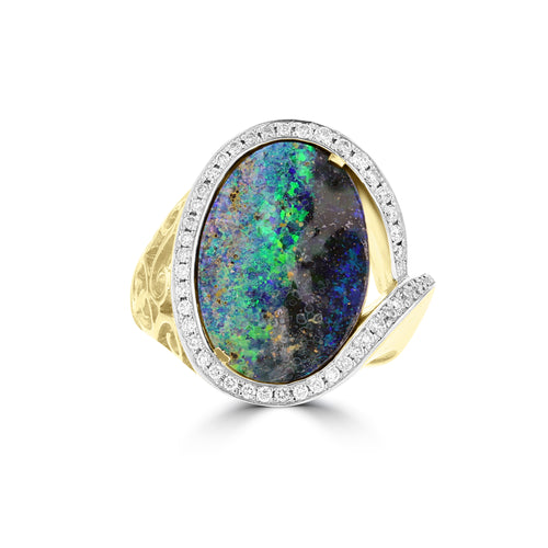 Yellow Gold 14k Aus Boulder Opal 6.04cts & Diamond 0.30ct TDW Ring