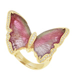 14K Yellow Gold Brazilian Tourmaline 10.90cts and Diamond 0.28cts (SI1-VS G-H) Butterfly Ring