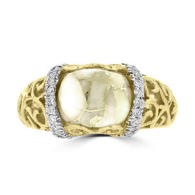 14K Yellow Gold & Gold Quartz 1.75cts and Diamond 0.24ct TDW (SI1-VS, G-H) Ring
