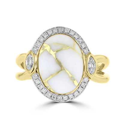 14k Yellow Gold, 4.25cts Gold Quartz and 0.26cts TDW Diamond  (G-H, SI1-VS) Ring