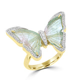 14K Yellow Gold Brazilian Tourmaline 8.20cts & Diamond 0.34cts Butterfly (SI1,VS G-H)Ring