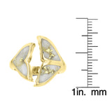 14K Yellow Gold & Gold Quartz Inlay Whale Tail Ring