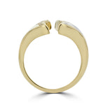 14K Yellow Gold, Diamonds 0.06ct & Gold Quartz Inlay Whale Tail Ring