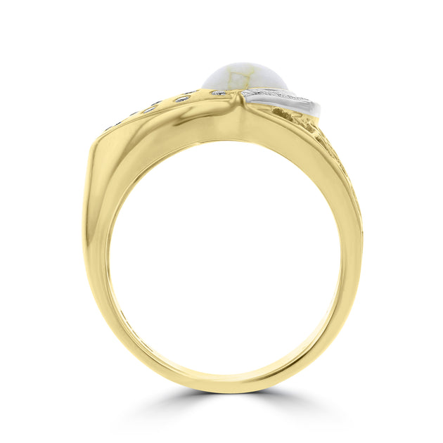 14K Yellow Gold & Gold Quartz Ring 1.84cts and Diamond 0.21ct TDW (SI1-VS, G-H) Ring