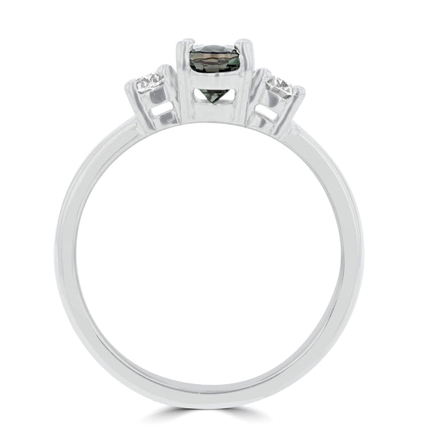 18K White Gold Gubelin Certified Alexandrite 1.12ct and Diamond 0.36cts (VS, G) Ring by La Vita Vital