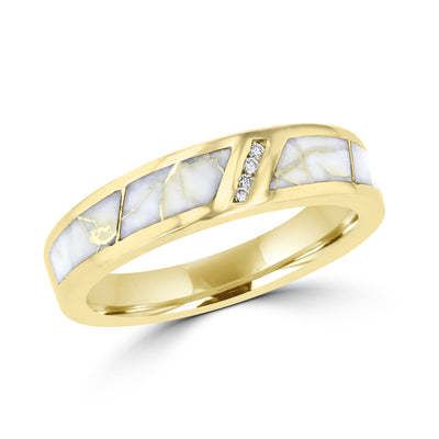 14K Yellow Gold & Gold Quartz Inlay and Diamond 0.07ct TDW (SI1-VS, G-H) Ring