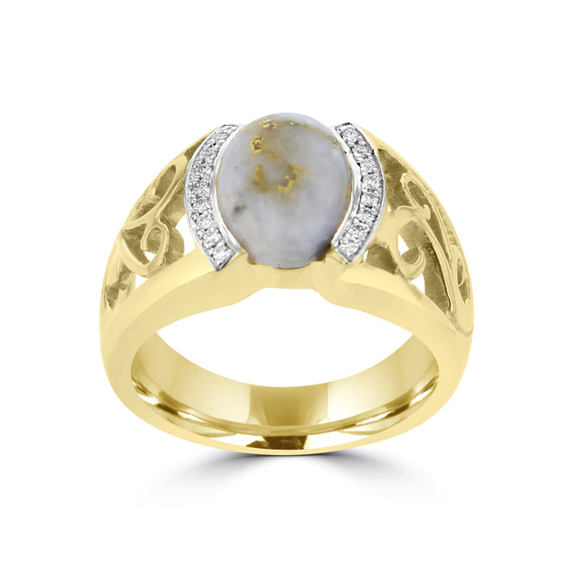 14k Yellow Gold 2 5/8ct Gold Quartz and Diamond Accent Ring (G-H, SI1-VS)