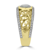 14K Yellow Gold & Gold Quartz Ring 2.45cts and Diamond 0.31ct TDW (SI1-VS, G-H) Ring