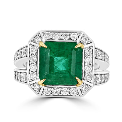 14K Two tone Emerald 3.70cts and Diamond 1.00cts Ring