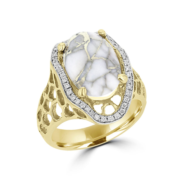 14K Yellow Gold, Gold Quartz 5.64cts and Diamond 0.22cts (SI1-VS, G,H) Ring