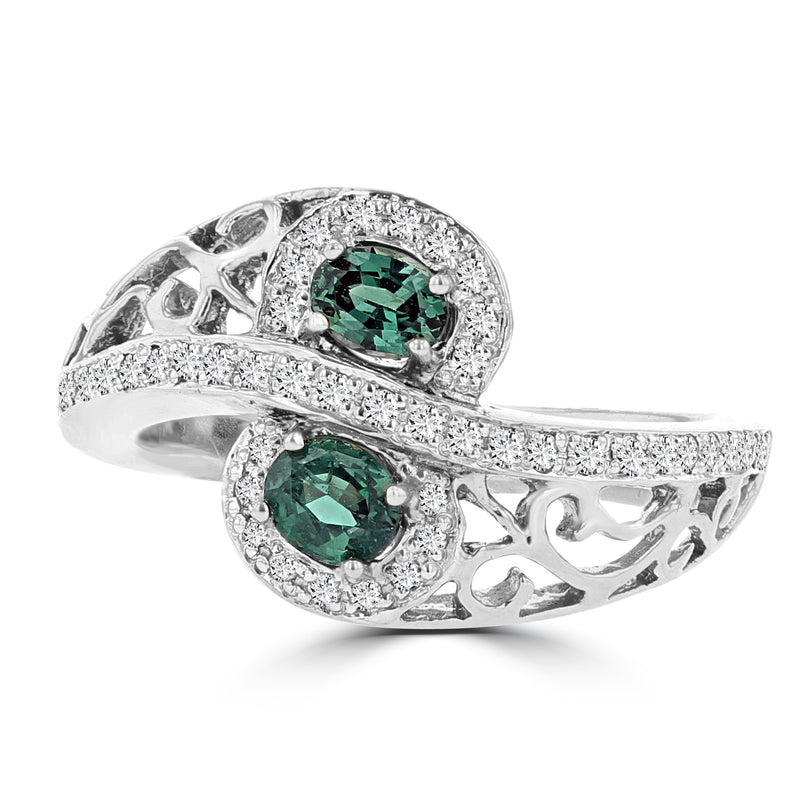 18K White Gold, Fine Brazilian Alexandrite 0.50cts & Diamond 0.20cts TDW (SI1-VS, G-H) Ring by La Vita Vital