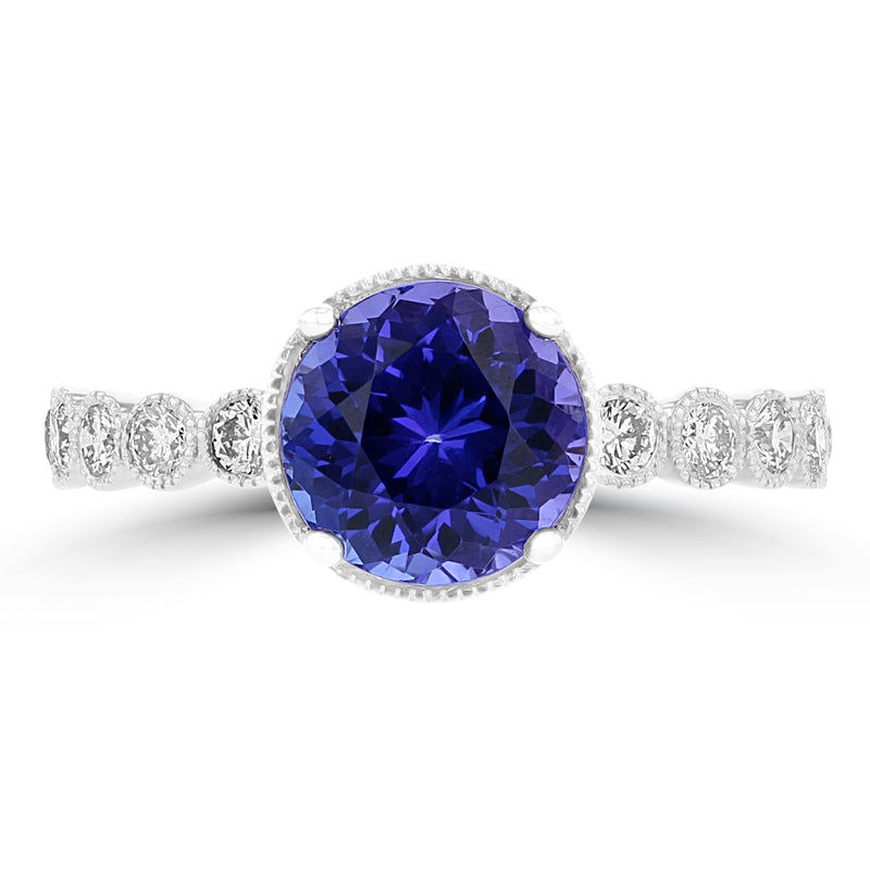 14K White Gold Tanzanite 2.35ct TGW & Diamond 0.30ct