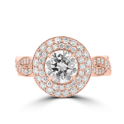 14K Rose Gold Diamond 3.55cts TDW Engagement Ring