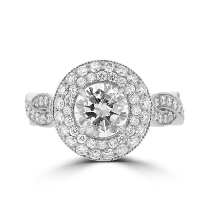14K White Gold Diamond 3.55cts TDW Engagement Ring