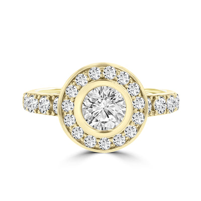 14k Yellow Gold 2 1/4ct. TDW Diamond Halo Engagement Ring