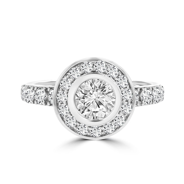 14k White Gold Diamond 2.25cts TDW Halo Engagement Ring