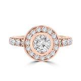 14k Rose Gold 2 1/4ct. TDW Diamond Halo Engagement Ring