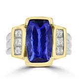 14K Yellow and White Gold Tanzanite 6.20cts and Diamond 0.75ct TDW (VS-SI1, G-H) Ring