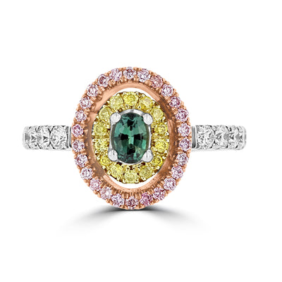 18K White & Rose Gold, Fine Brazilian Alexandrite 0.30cts & Diamond 0.54cts TDW (SI1-VS, G-H) Ring