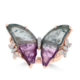 14K Rose Gold Natural Tourmaline 6.65cts and Diamond 0.20ct Butterfly Ring